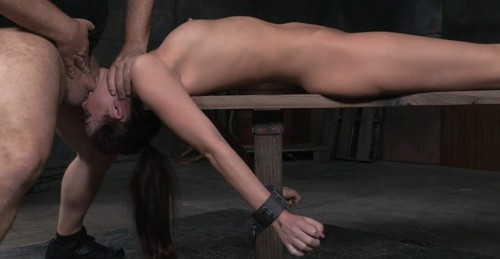 Bondage beauty Bianca shackled down and throatboarded, epic brutal deepthroat!