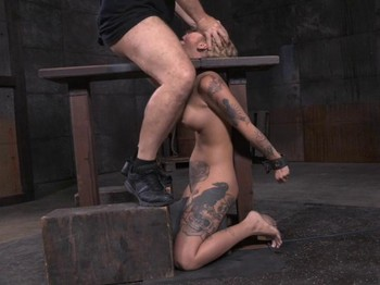Tattooed blonde Kleio bound on sybian with drooling destroyed deepthroat!